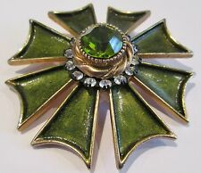 Vintage Har Maltese Windmill Brooch Faceted Green Crystal, Rhinestones, Enamel 2