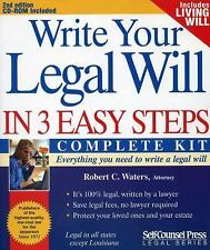 Write Your Legal Will in 3 Easy Steps, Waters, Robert Craig, New Book