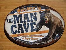 WELCOME TO THE MAN CAVE Black Bear Cabin Hunting Lodge Home Decor Sign - NEW