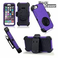 Apple iPhone 6 s Rugged High Impact Rubber Reinforced Shell Purple Case & Holder
