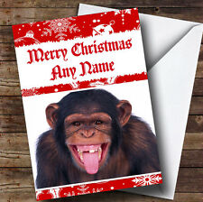 Toothless Monkey Funny Personalised Christmas Greetings Card