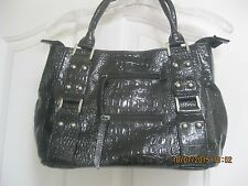 Sag Harbor Black Faux Patent Leather Hand Purse Shoulder Bag Large 9 1/2-15 1/2