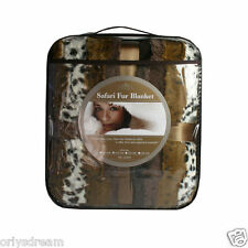 "New QUEEN Size SAFARI -""MINK"" FAUX FUR THERMAL THROW BLANKET- Dark Safari colors"