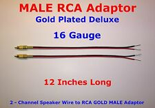 """2 Channel Speaker Wire MALE RCA GOLD PL Adapter Amp Powered Receiver 16 GA 12"""""""