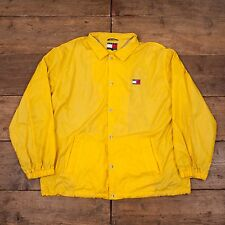 "Mens Vintage Tommy Hilfiger Coach Waterproof Jacket Yellow XL 50"" R4883"