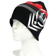 Men's Winter Black Stripies Beanie Hat with Skull Soft Knit Ski Stocking Cap