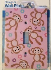 Light Lavender Monkey And Flowers Single Toggle Light Switch Wall Plate