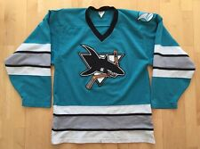 Vintage CCM San Jose Sharks Teal Hockey Jersey With Embroidered Logos. M