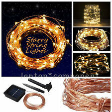 Solar powered Warm White 10M/33FT 100LED Copper Wire LED String Fairy Light Lamp