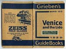 ITALY 1929 GRIEBENS GUIDE 68 PAGES + ADVERT ZEISS VENICE FINE