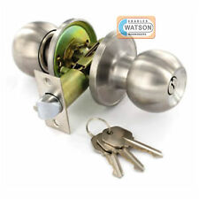 Stainless Steel ENTRANCE KNOB SET Locking Key Door Handle Latch Fixings