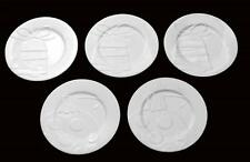 "5 The Cellar White Embossed Bells Ornaments 9-1/4"" Luncheon Plates NWT MSRP $70"