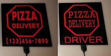Customized Light Up-Glowing-illuminated-led PIZZA DELIVERY car Sign for drivers