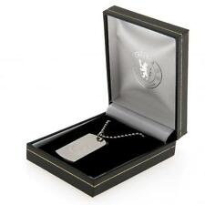 Chelsea Fc Engraved Crest Dog Tag & Chain In Gift Box Football Jewellery New
