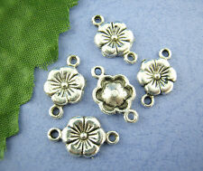 50Pcs Silver Tone Carved Flower Connectors Jewelry Charms 10x18mm