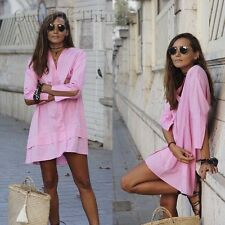 ZARA BUBBLEGUM PINK COTTON SHIRT DRESS MINI SMALL 8 10 12 BLOGGERS FAV 0881/280