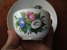 19thc Antique Royal Copenhagen Porcelain Cup & Saucer Handpainted Saxon Flowers
