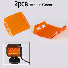 2x Amber Lens Cover for LED Work Light Bar Fog Lamp Off-Road SUV 4'' 18W Pods
