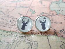 White and gray color Reindeer Christmas Cabochon earring stud