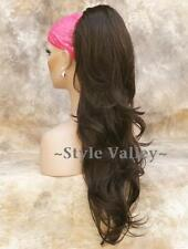 Medium light  Brown Hairpiece Ponytail Long Wavy Claw Clip Extension Hair Piece