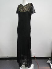 Vtg 1930s Black Lace Long Gown Illusion Bodice Lace Sleeves