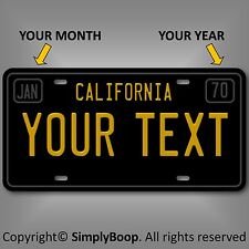 California Black YOUR TEXT  Personalized Custom  Aluminum License Plate Tag New