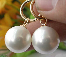 14MM White South Sea Shell Pearl 14K Gold Plated Drop Dangle Fashion Earrings