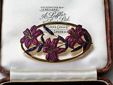 BELLISSIMO VINTAGE gioielli d'oro dell'era Maji Smalto Fiore Spilla/Pin Scialle
