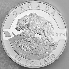Canada 2014 $10 Grizzly Bear 1/2 oz. 99.99% Pure Silver Matte Proof, O Canada
