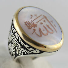 Islamic ( Allah ) Arabic Word Engraved 925 Sterling SILVER Shell Men Ring Size 9