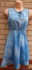 URMODA BLEACHED DENIM BLUE SKATER FLARE FLIPPY SUMMER RARE VTG DRESS L 14