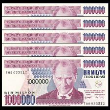 Lot 5 PCS, Turkey 1,000,000 1000000 one million Lira, 1970(2002), P-213, UNC