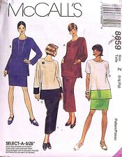 NEW McCall Pattern 8859 Loose Tunic Sleeve Choice Pull On Pant Color Block XS-M