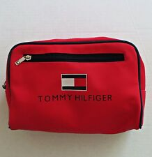 Vtg TOMMY HILFIGER Spellout Red Travel Toiletry Cosmetic Shaving Bag Pouch RARE!