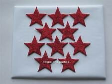 10 X Red Glitter estrellas Pastel Comestible Decoraciones-Grande 4cm.
