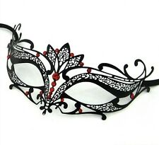 Diamante Luxury Venetian Metal Filigree Masquerade Mask Verona Red Stones