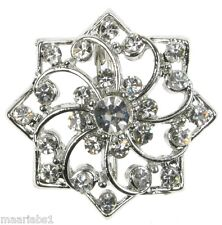 SILVER SNOWFLAKE DIAMANTE RHINESTONE  BROOCH BROACH PIN COSTUME JEWELLERY NEW UK