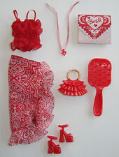Barbie Clothes/Fashions Beautiful Red Top & Skirt With Accessories NEW!!