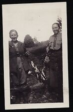 Old Vintage Antique Photograph Man & Woman Holding Dead Fish on Fishing Line
