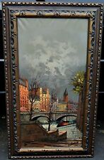 EUROPEAN STREET SCENE IN FALL, OIL ON CANVAS FRAMED SIGNED by LENTERA CITYSCAPE