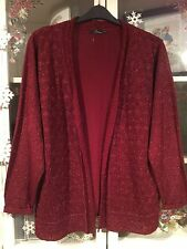 BM Coll Plus Sz XL 20/22 Deep Xmas Red Glitter Sparkle Crochet Cardigan