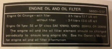 KAWASAKI ZXR750 ZXR750J 1992 ENGINE OIL AND FILTER CAUTION WARNING DECAL
