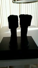 Chanel Black Suede Fold-over Boots SZ 36