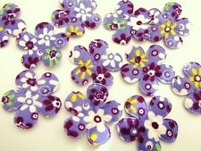 50 Padded Purple Floral Fabric Flower Applique/Trim/Craft/Sewing/Quilting L39