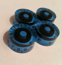 4 Guitar speed volume / tone knobs.. Black / Blue. JAT CUSTOM GUITAR PARTS