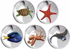 Australia 2011 - 2012  5 x 50 Cents SEA LIFE II 2.5 Oz Silver Proof Coin Set