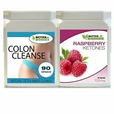 90 RASPBERRY KETONE 90 DETOX COLON INNER CLEANSE WEIGHT LOSS DIET TABLETS PILLS
