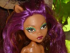 Probablemente Monster High Gloom Playa Clawdeen Wolf Muñeca ~ desnudo ~ Play/OOAK