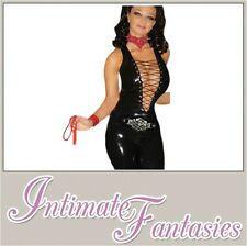 Black Vinyl Sexy Dominatrix Fancy Dress Jumpsuit Catsuit Wet Look Size 8 10 12