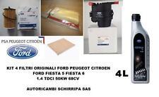 KIT TAGLIANDO FILTRI ORIGINALI + OLIO FORD FIESTA 5 6 FUSION 1.4 TDCi F6JA F6JB